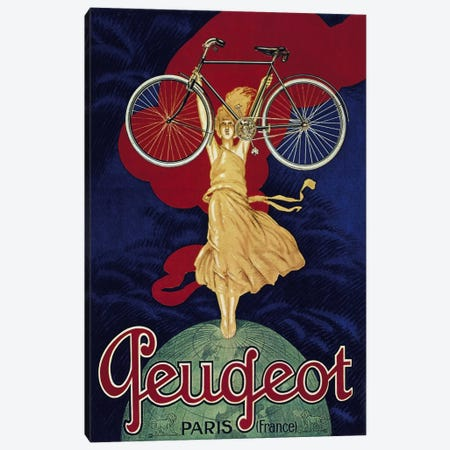 Peugeot Bicycle Advertising Vintage Poster Canvas Print #5153} by Unknown Artist Canvas Print