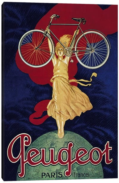 Peugeot Bicycle Advertising Vintage Poster Canvas Print