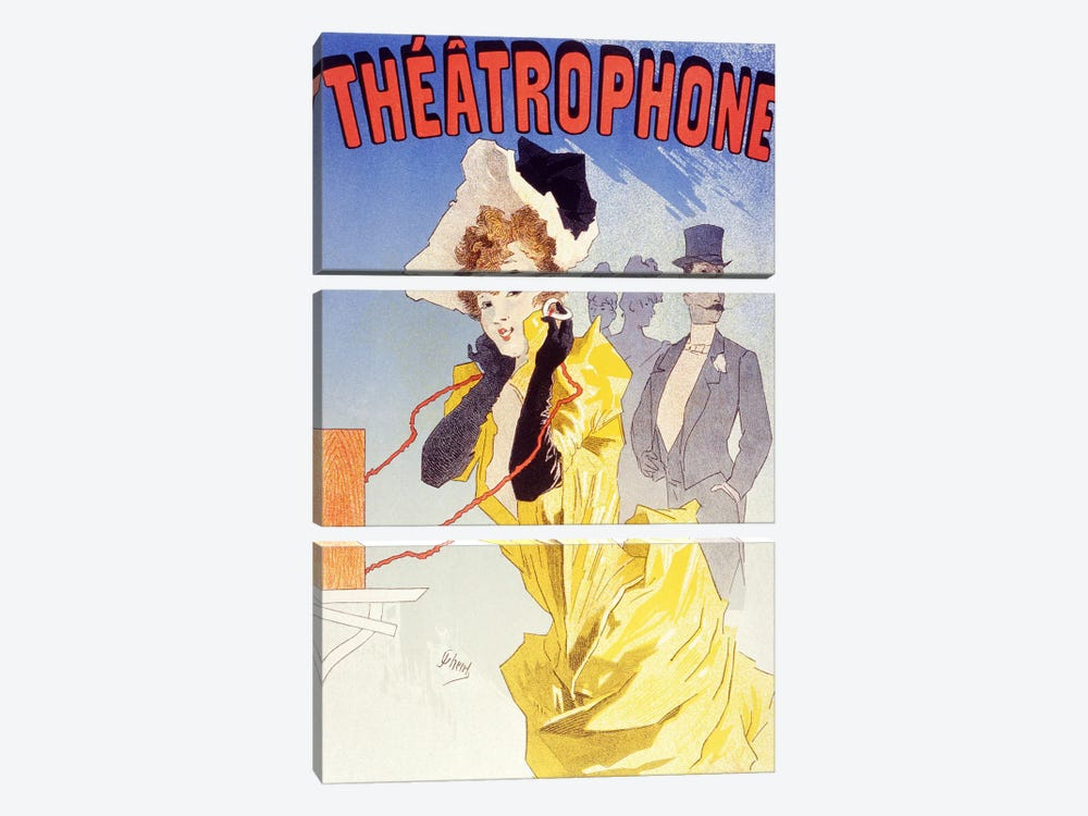 Theatrophone (Advertising) Vintage Poster 3-piece Canvas Art