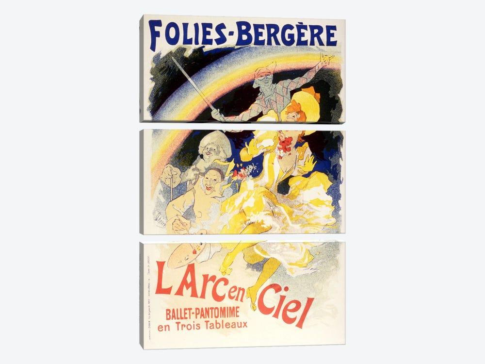 Larc en Ciel (Ballet-Pantomime en Trois Tableaux) Folies - Bergere Vintage Poster by Unknown Artist 3-piece Canvas Print