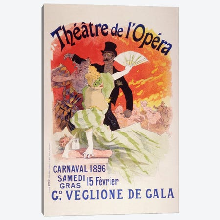 Carnaval (Veglione de Gala) - Theatre de l'Opera Vintage Poster Canvas Print #5158} by Unknown Artist Canvas Print