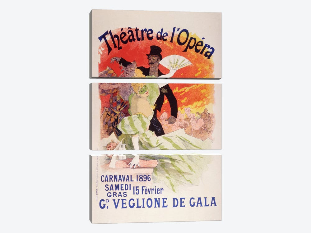 Carnaval (Veglione de Gala) - Theatre de l'Opera Vintage Poster by Unknown Artist 3-piece Canvas Art