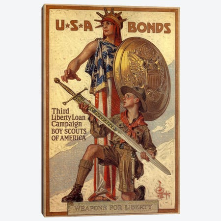 Third Liberty Loan Campaign (Boy Scouts of America) Advertising Vintage Poster Canvas Print #5162} Canvas Wall Art