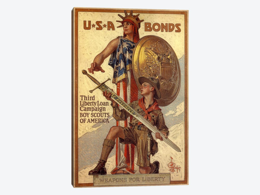 Third Liberty Loan Campaign (Boy Scouts of America) Advertising Vintage Poster by Unknown Artist 1-piece Canvas Print