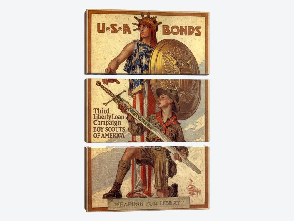 Third Liberty Loan Campaign (Boy Scouts of America) Advertising Vintage Poster by Unknown Artist 3-piece Canvas Art Print