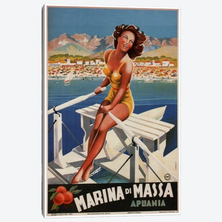 Marina di Massa (Apuania) Advertising Vintage Poster Canvas Print #5171} by Unknown Artist Art Print
