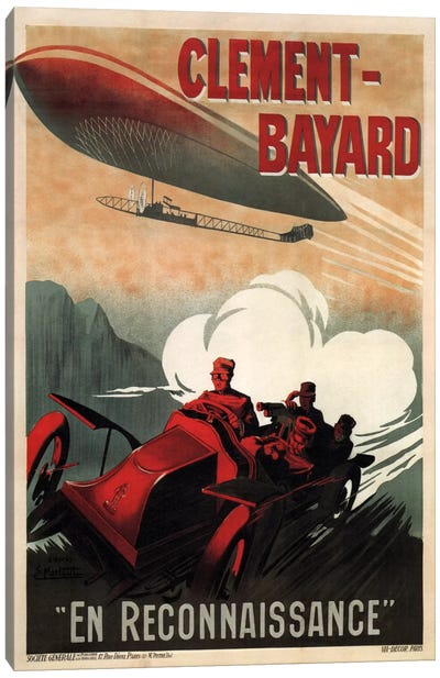 Clement - Bayard (En Reconnaissance) Advertising Vintage Poster Canvas Art Print