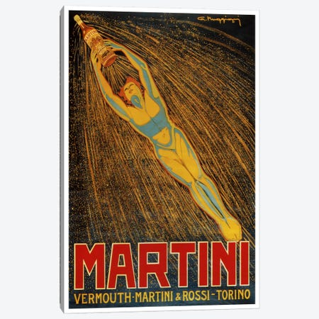 Martini (Vermouth Martini & Rossi) Advertising Vintage Poster Canvas Print #5212} by Unknown Artist Canvas Art
