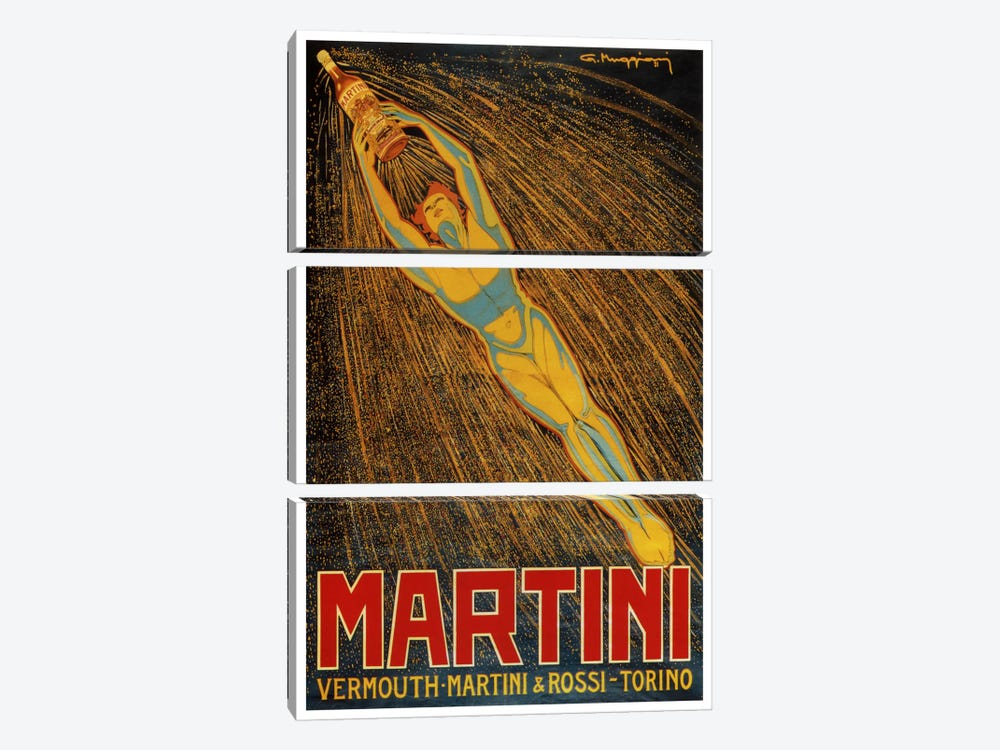 Martini (Vermouth Martini & Rossi) Advertising Vintage Poster 3-piece Canvas Wall Art
