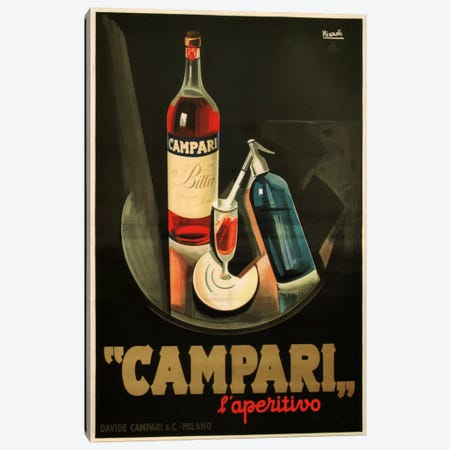 Campari Aperitivo Advertising Vintage Poster 3-Piece Canvas #5215} by Marcello Nizzoli Canvas Art Print