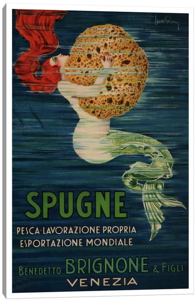 Spugne Benedetto Brignone & Figli (Venezia) Advertising Vintage Poster Canvas Art Print