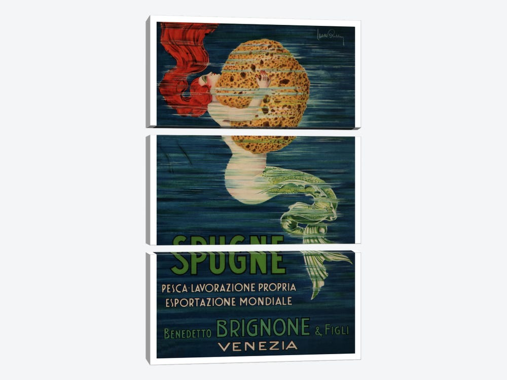 Spugne Benedetto Brignone & Figli (Venezia) Advertising Vintage Poster by Unknown Artist 3-piece Canvas Art