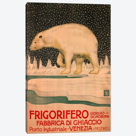 Giorgio Signorini Refrigerator Ice Factory, Venice Vintage Advertisement Canvas Print #5217} by Unknown Artist Canvas Art Print
