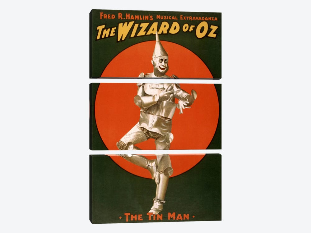 The Wizard of Oz (The Tin Man) Advertising Vintage Poster by Unknown Artist 3-piece Canvas Wall Art