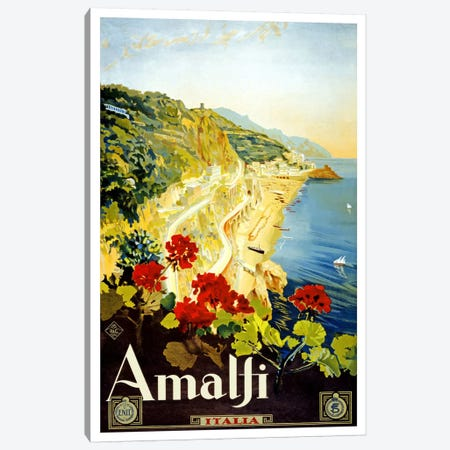 Amalfi Advertising Vintage Poster Canvas Print #5241} Canvas Art Print
