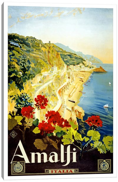 Amalfi Advertising Vintage Poster Canvas Art Print