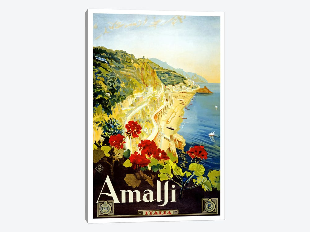 Amalfi Advertising Vintage Poster 1-piece Canvas Wall Art