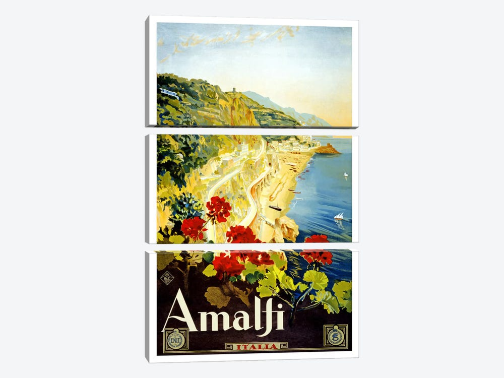 Amalfi Advertising Vintage Poster 3-piece Canvas Artwork