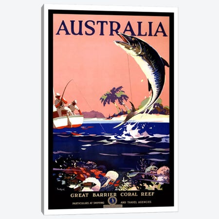Australia (Great Barrier Coral Reef) Advertising Vintage Poster Canvas Print #5242} Art Print