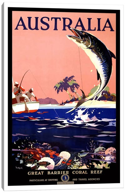 Australia (Great Barrier Coral Reef) Advertising Vintage Poster Canvas Art Print