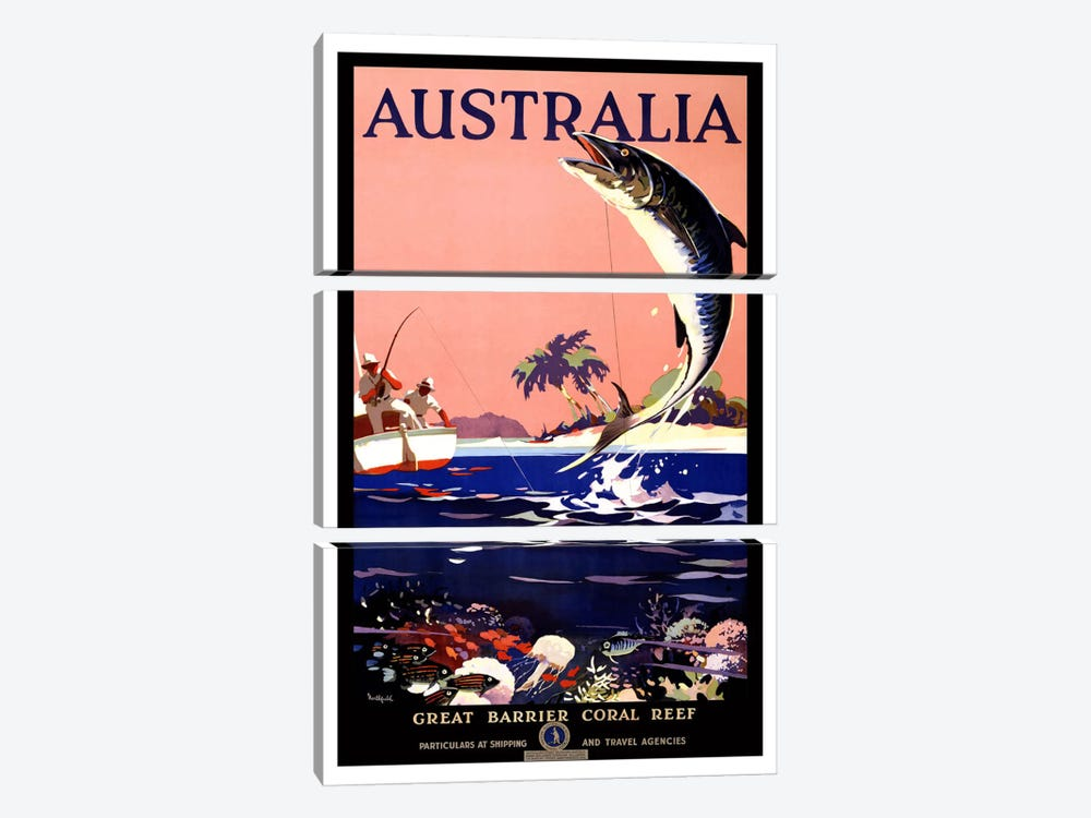 Australia (Great Barrier Coral Reef) Advertising Vintage Poster 3-piece Art Print