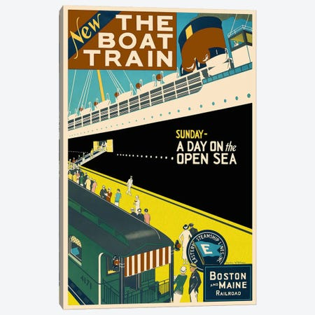 The Boat Train (Boston and Maine Railroad) Advertising Vintage Poster Canvas Print #5244} by Unknown Artist Canvas Artwork