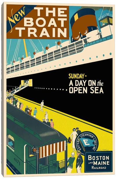 The Boat Train (Boston and Maine Railroad) Advertising Vintage Poster Canvas Art Print