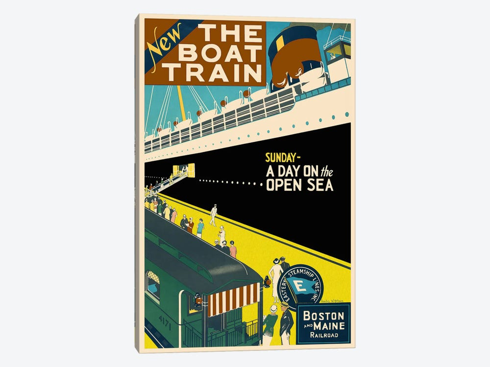 The Boat Train (Boston and Maine Railroad) Advertising Vintage Poster by Unknown Artist 1-piece Art Print