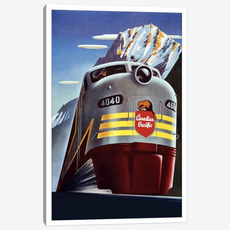 Canadian Pacific (Railway Train) Advertising Vintage Poster Canvas Print #5247} Canvas Wall Art