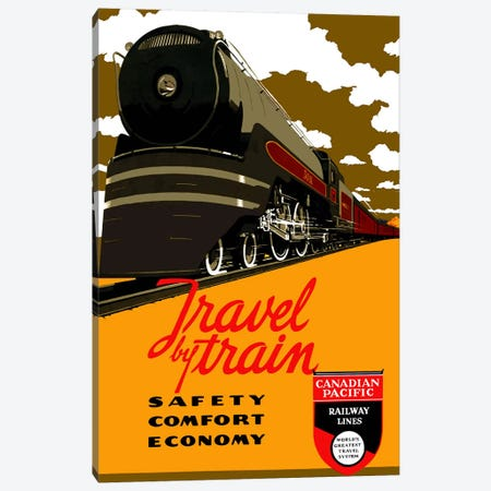 Travel by Train (Safety Comfort Economy) Advertising Vintage Poster Canvas Print #5248} Art Print