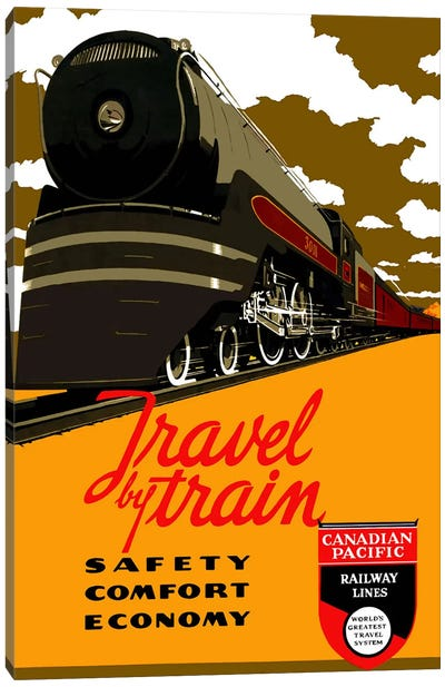 Travel by Train (Safety Comfort Economy) Advertising Vintage Poster Canvas Print #5248