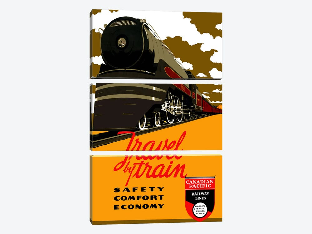 Travel by Train (Safety Comfort Economy) Advertising Vintage Poster 3-piece Canvas Art Print