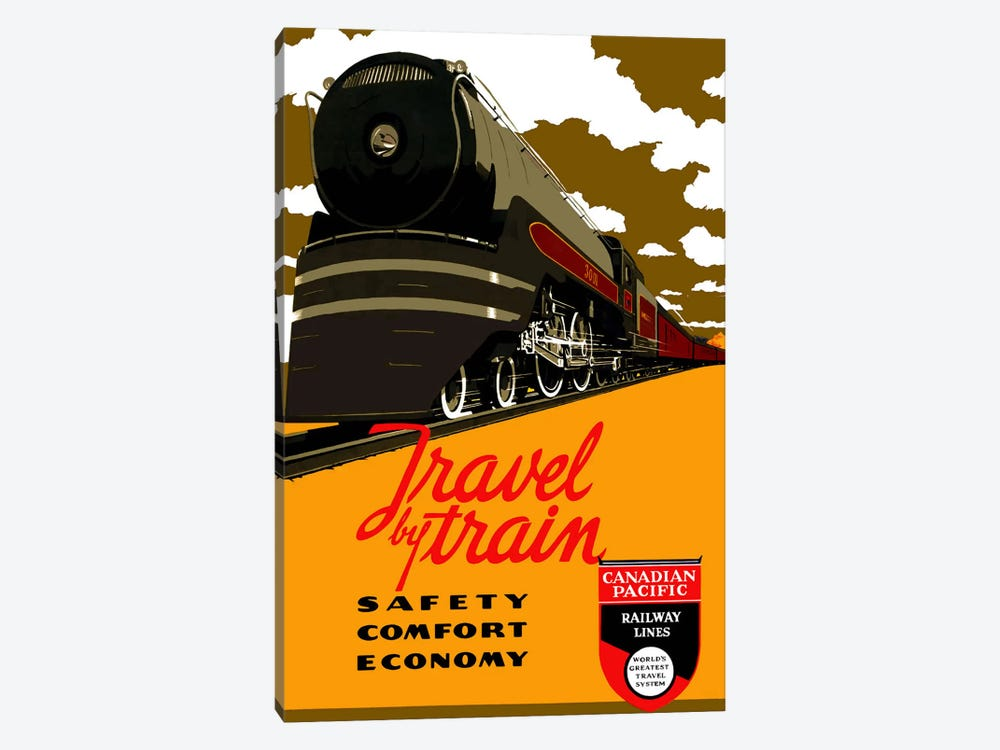 Travel by Train (Safety Comfort Economy) Advertising Vintage Poster by Unknown Artist 1-piece Canvas Print