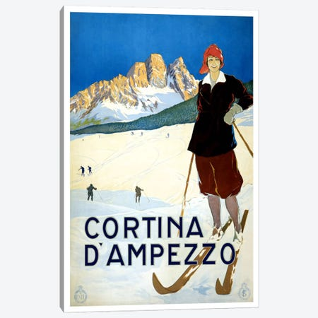 Cortina D'Ampezzo Advertising Vintage Poster Canvas Print #5252} by Unknown Artist Canvas Wall Art