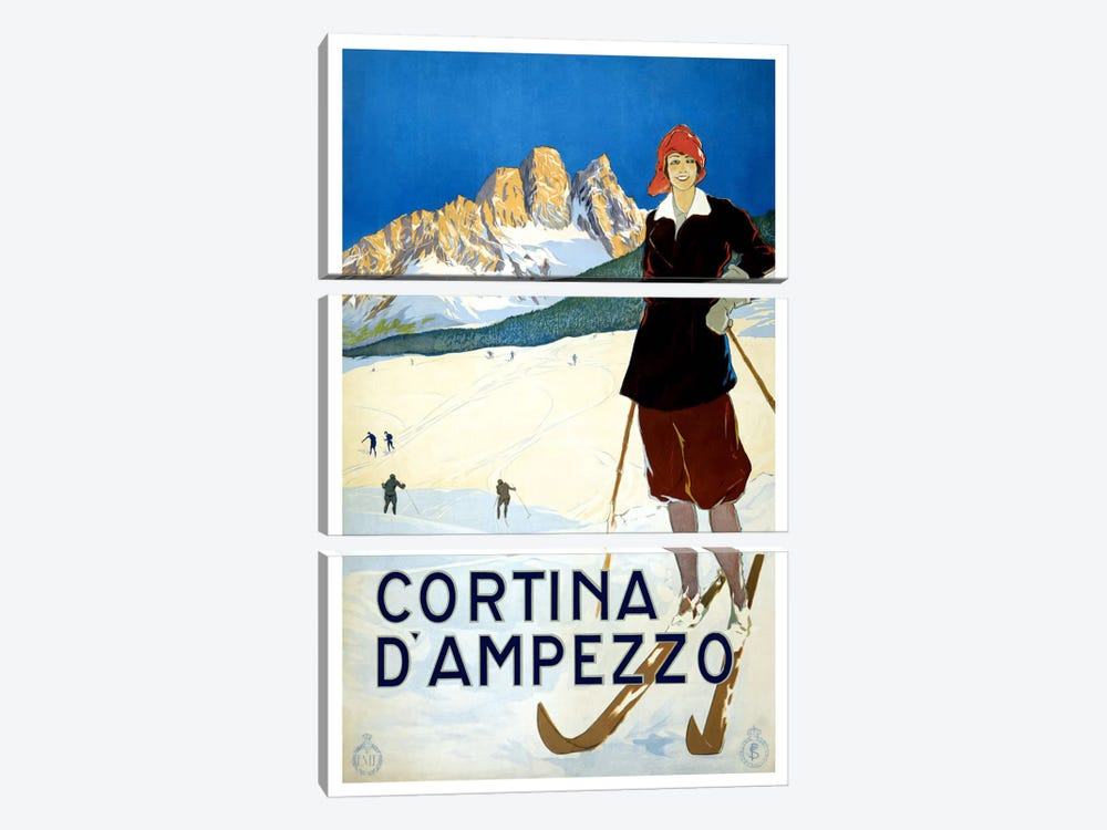 Cortina D'Ampezzo Advertising Vintage Poster 3-piece Canvas Art