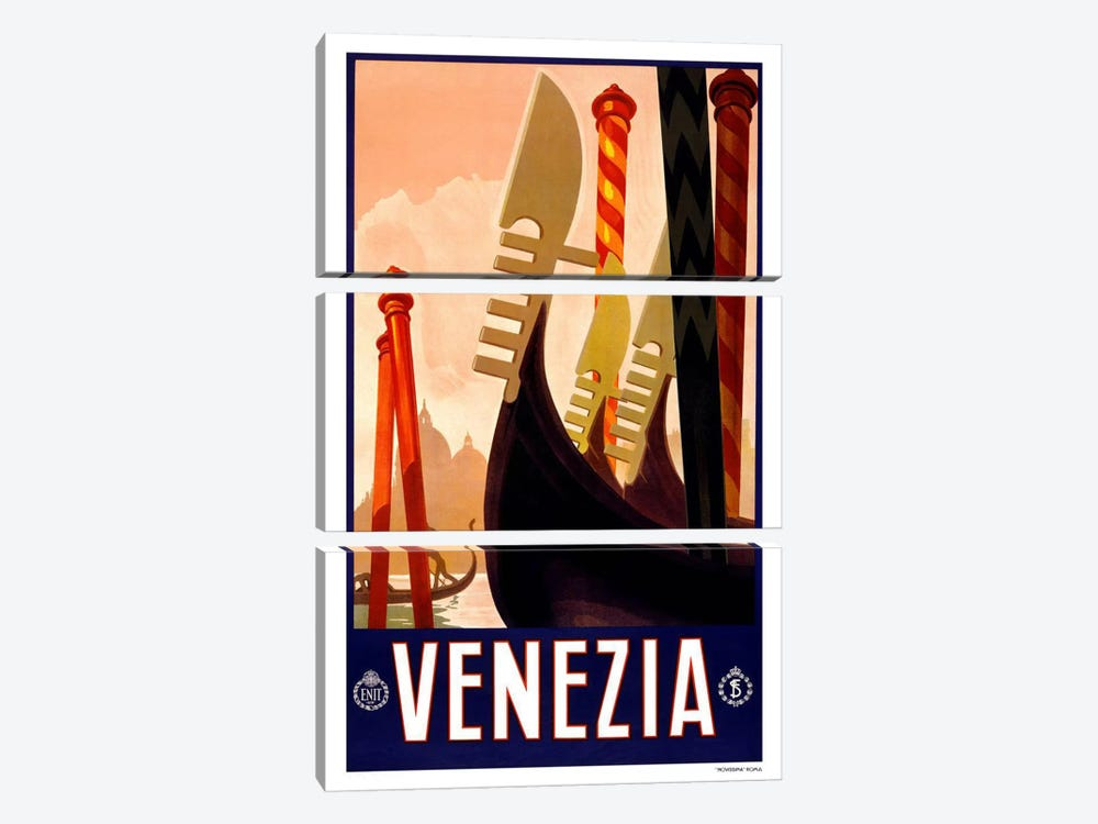 Venezia Advertising Vintage Poster by Unknown Artist 3-piece Canvas Wall Art