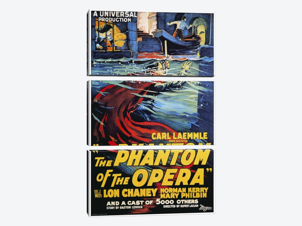 The Phantom of The Opera Advertising Vintage Poster by Unknown Artist 3-piece Canvas Print