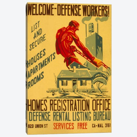 Welcome Defense Workers Advertising Vintage Poster Canvas Print #5261} by Unknown Artist Canvas Art Print