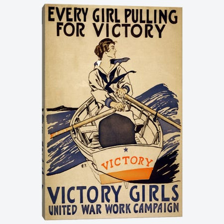 Every Girl Pulling for Victory (Victory Girls) Advertising Vintage Poster Canvas Print #5262} Canvas Print