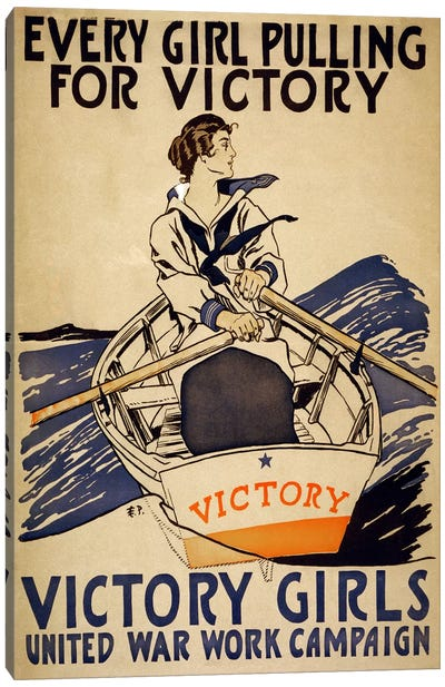 Every Girl Pulling for Victory (Victory Girls) Advertising Vintage Poster Canvas Print #5262