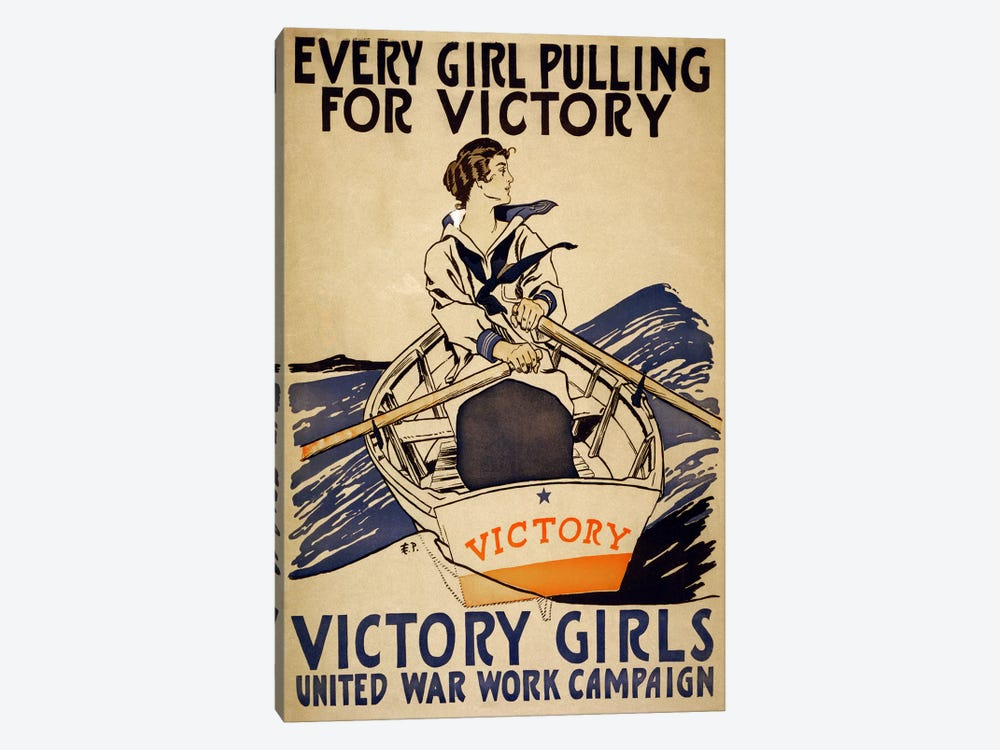 Every Girl Pulling for Victory (Victory Girls) Advertising Vintage Poster by Unknown Artist 1-piece Canvas Print