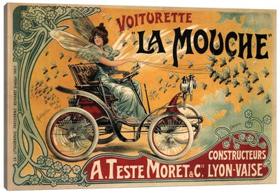 Voiturette La Mouche Advertising Vintage Poster Canvas Art Print
