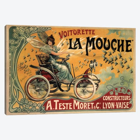 Voiturette La Mouche Advertising Vintage Poster Canvas Print #5275} by Unknown Artist Canvas Art Print
