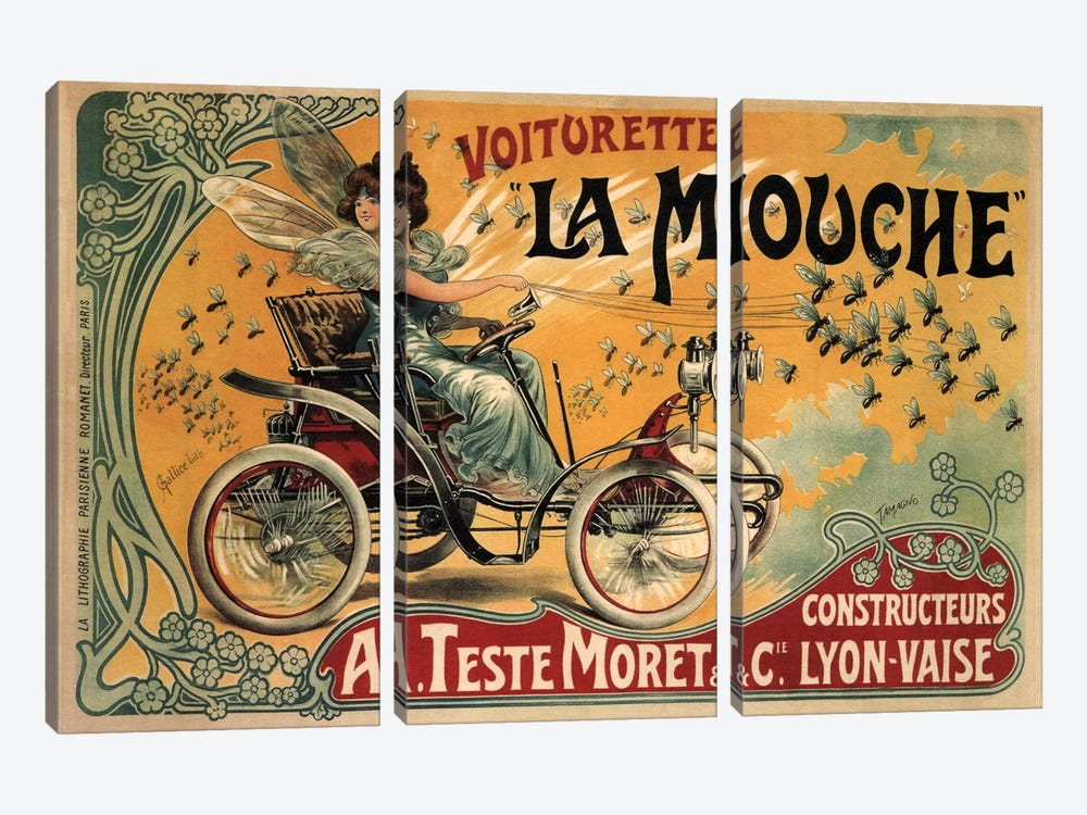 Voiturette La Mouche Advertising Vintage Poster by Unknown Artist 3-piece Art Print