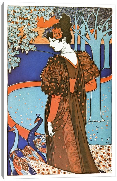 Lady with Peacocks (Art Nouveau) Advertising Vintage Poster Canvas Print #5284