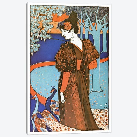 Lady with Peacocks (Art Nouveau) Advertising Vintage Poster Canvas Print #5284} by Unknown Artist Canvas Artwork