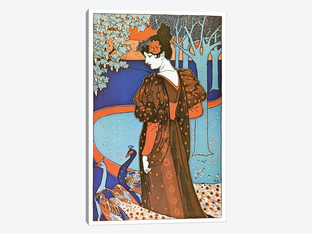 Lady with Peacocks (Art Nouveau) Advertising Vintage Poster by Unknown Artist 1-piece Art Print