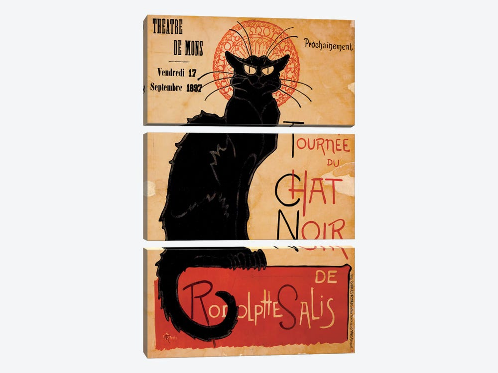 Tournee du Chat Noir Advertising Vintage Poster by Unknown Artist 3-piece Canvas Print