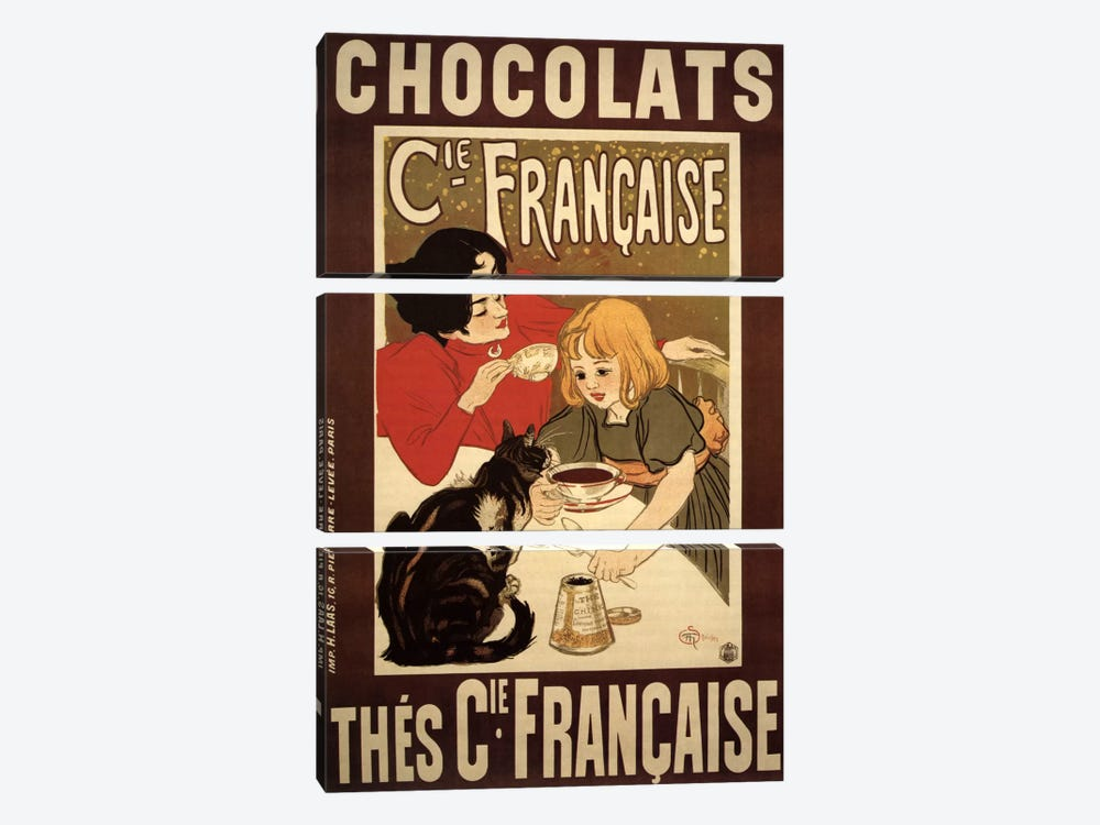 Chocolats Cie Francaise Advertising Vintage Poster by Unknown Artist 3-piece Canvas Art