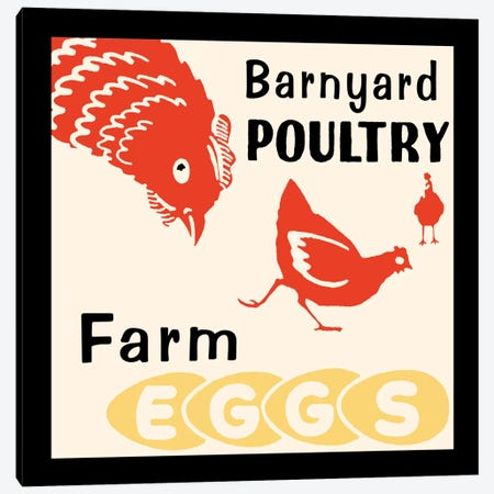 """Barnyard Poultry"" Vintage Farm Eggs Advertisement Canvas Print #5342} by Retro Series Canvas Art"